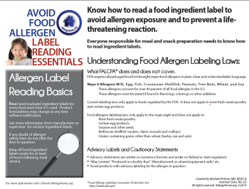 Understanding Food Allergen Labeling Laws - Label Reading Handout
